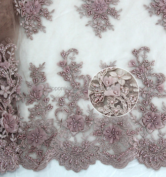 Fancy Design Dribbling Embroidered Lace Fabric 3d Beads Lace Fabric