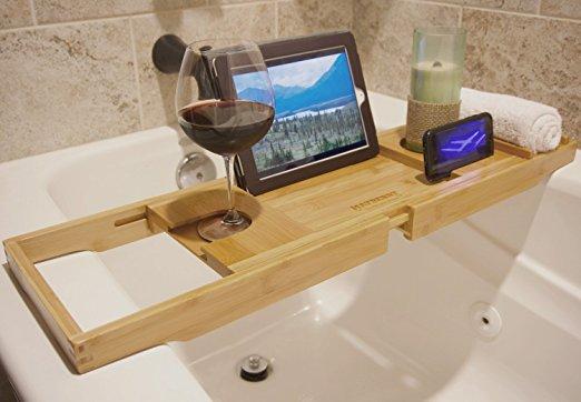 wholesale natural bamboo bathtub caddy tray organizer 5