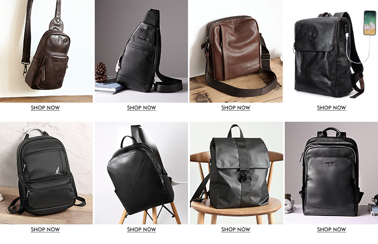 Hautton New Designer Top Leather Daily outdoor travel backpack School Bag Men Laptop Backpack