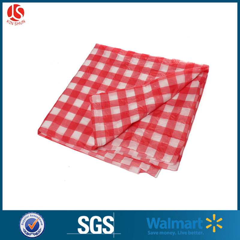 New Red White Checked Gingham Plastic Tablecloth 54 X 108
