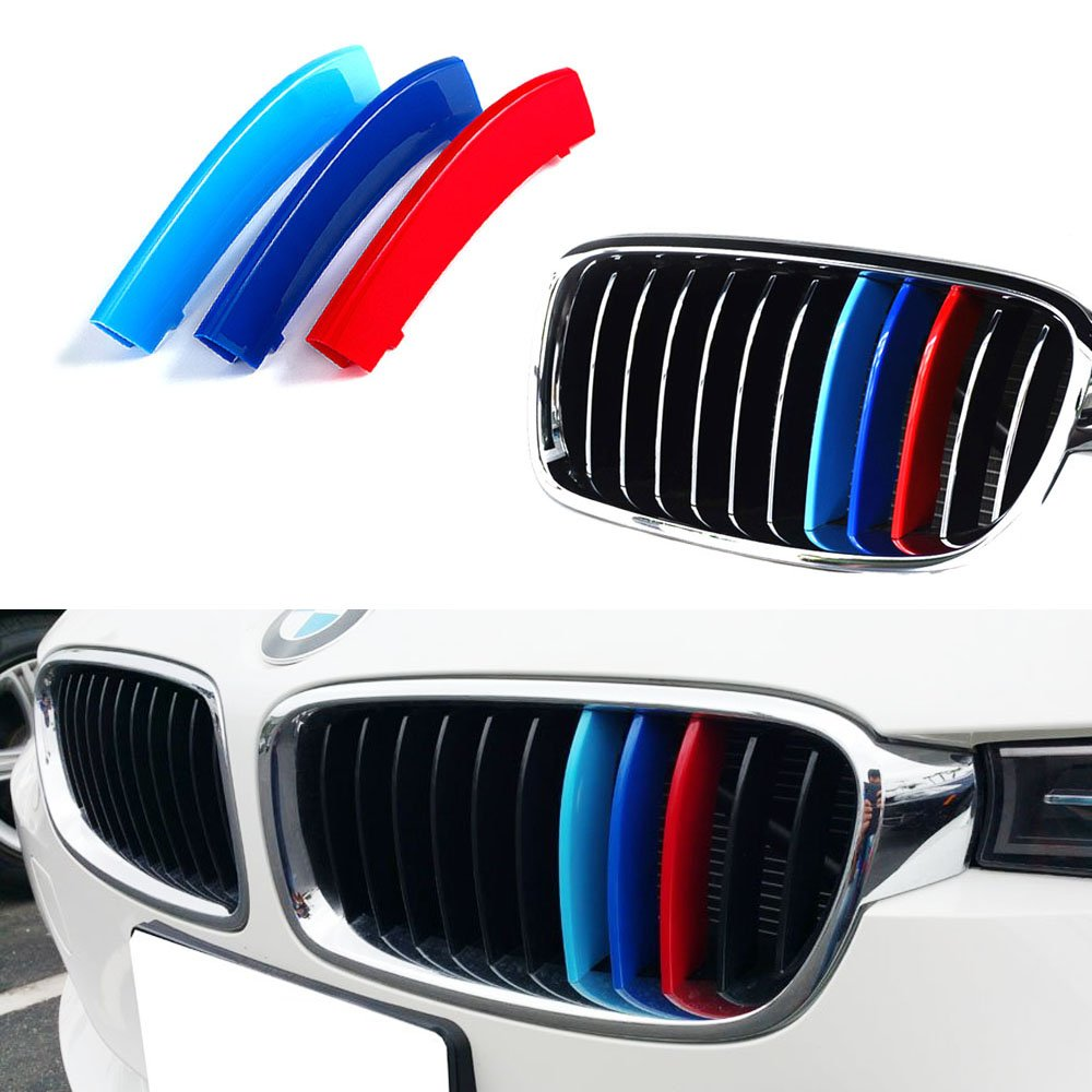 iJDMTOY M-Colored Grille Insert Trims For BMW F30 3 Series 320i 328d 328i 335i 340i w/ Standard Kidney Grill (11 Beams), NOT for 8-Beam Black Grille nor M3