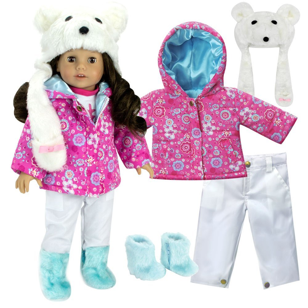 Complete 18 Inch Doll Winter Outfit Set with Polar Bear Hat, Floral Print Parka, Snowboard Pants and Aqua Fur Boots. Fits American Girl Dolls & More! Doll Clothes Polar Bear Set by Sophia's