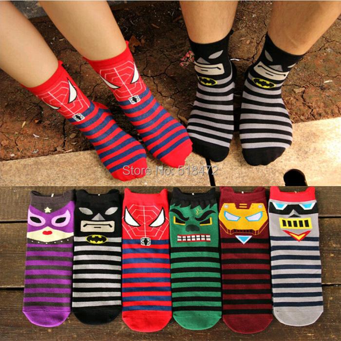 Супер женщины комикс паук бэтмен носки harajuku 3D носки женщины герои meias soks