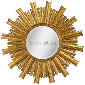 "Bright Gold Sunburst 29 1/4"" Round Wall Mirror"