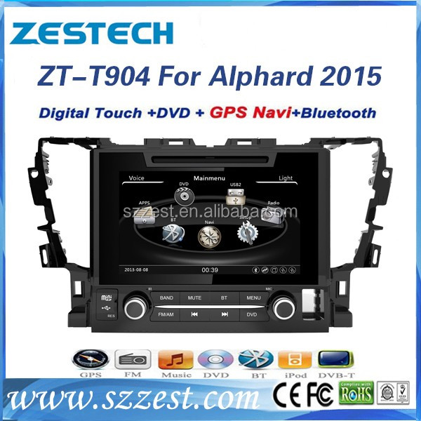 2016 touch screen car dvd gps support rear view camera 1080P 10disc video, new for toyota alphard/