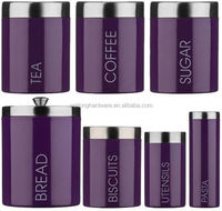 wholesale stainless steel lid metal sugar funky tea coffee storage decorative airtight canister