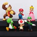 6pcs set Super Mario Bro Mario Luigi Yoshi donkey kong Toad Peach Princess Peach PVC Action
