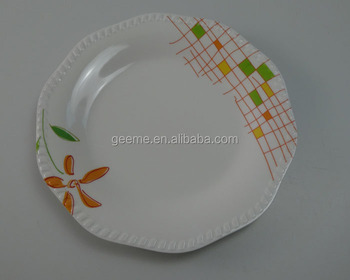 Geeme melamine food warming plate # grid with flower printing unique shape dinner plate & Geeme Melamine Food Warming Plate # Grid With Flower Printing Unique ...