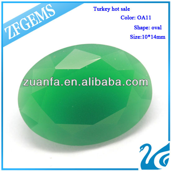 2014 new products OA11 oval jade decorative glass gems diamond 10*14mm