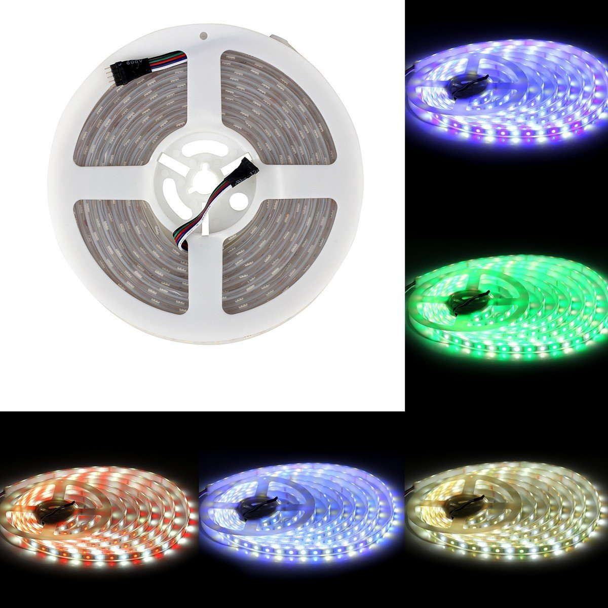 BZONE DC 12V RGB+Cool White RGBW LED Rope Light Flexible Waterproof Color Changing LED Strip Lights, 300 Units SMD 5050 LEDs, IP67 Waterproof, 5m 16.4FT
