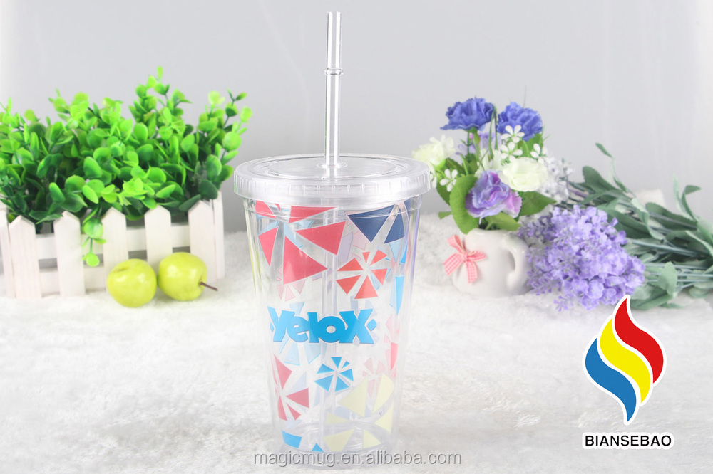 Factory Wholesale Plastic Double Wall Cold Color Changing Cup Magic Tumbler