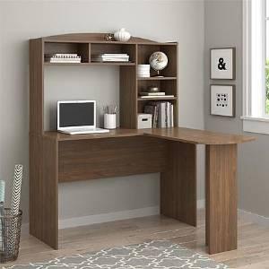 Office Desk Furniture, Office Desk Organizer, Computer Desks, Student Desks, Writing Desks,Saint Walnut L Desk with Hutch