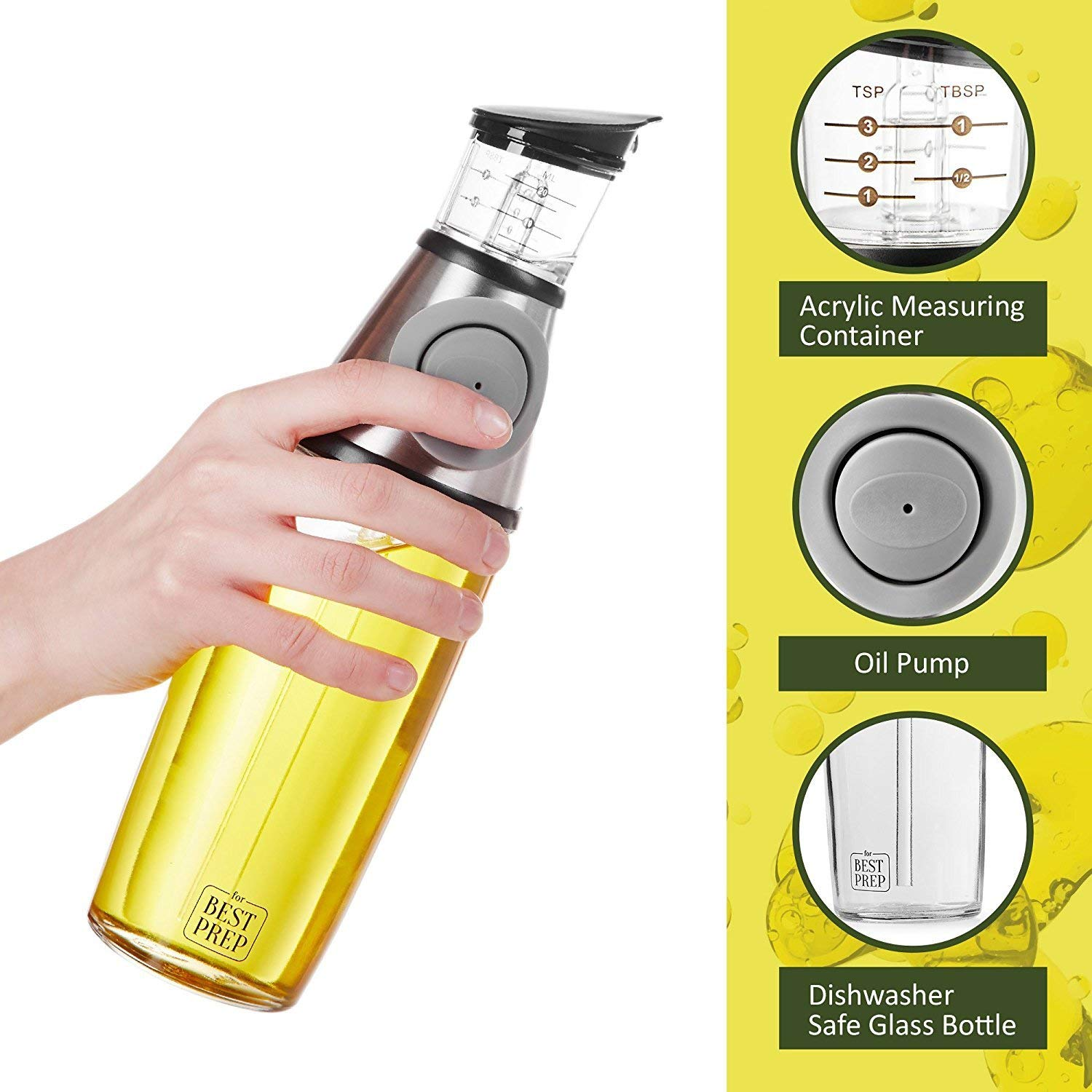 For Best Prep Olive oil dispenser - Olive oil bottle - Vinegar and soy sauce dispenser 17 oz or 500 ml capacity – any simple syrup fits - for all your cooking purposes