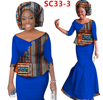 Hot 2017 New Fashion Design Traditional African Clothing Print Dashiki Blue Color Dresses For