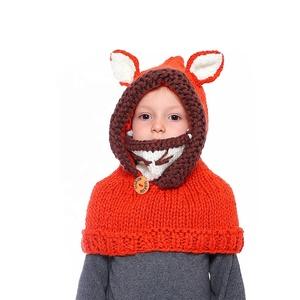 4db025e02fc Wholesale Winter Kids Warm Fox Ear Warmers Animal Cloak Hoodie Coif Hood  Handmade Crochet Warm Knit