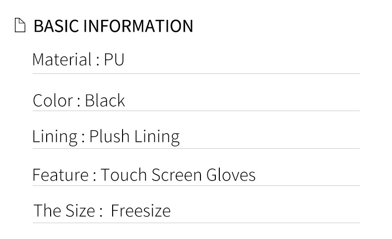 Wholesale fashion touch screen PU leather gloves warm plush lined