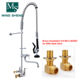 Jiangmen On Sale Pull Out Spray Double Hole Brass Cartridge Pre Rinse Commercial Kitchen Dishwasher Faucet Mixer for Restaurant