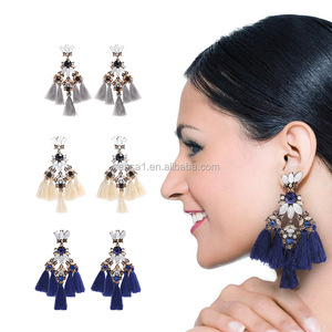 Fashion crystal earring with tassel jewelry wholesales NS-09131