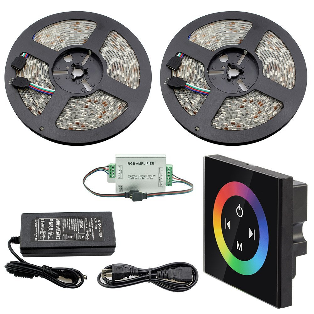 IWISHLIGHT® 32.8Ft 10M SMD 5050 600LEDs Waterproof Color Changing RGB DC12V LED Strip Lighting + Touch Pannel Controller + Power Supply Adapter