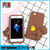 For iphone 7 3d cute brown bear silicone case, yellow duck bear silicon Phone cover for Iphone7 plus 6s 6plus