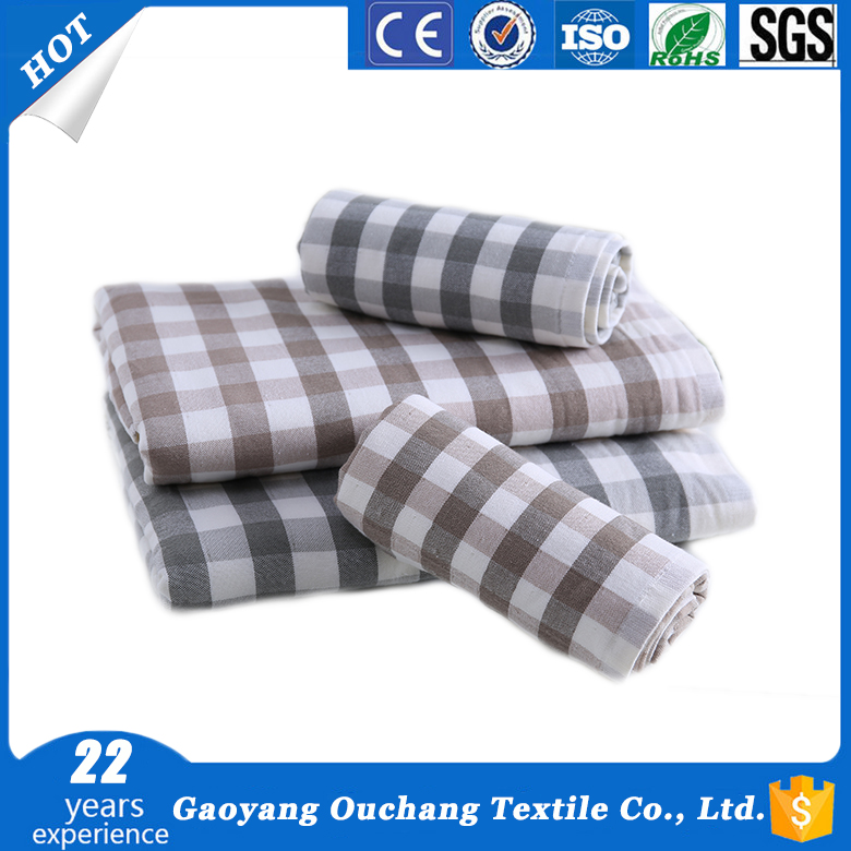 Wholesale untwisted yarn plaid fabric bath face 100% cotton baby towel sets