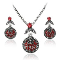Eco-삶 제 빈티지 선조 Antique Silver Red 돌 Boho Bridal Necklace Earring 패션 웨딩 <span class=keywords><strong>Jewellry</strong></span> Set