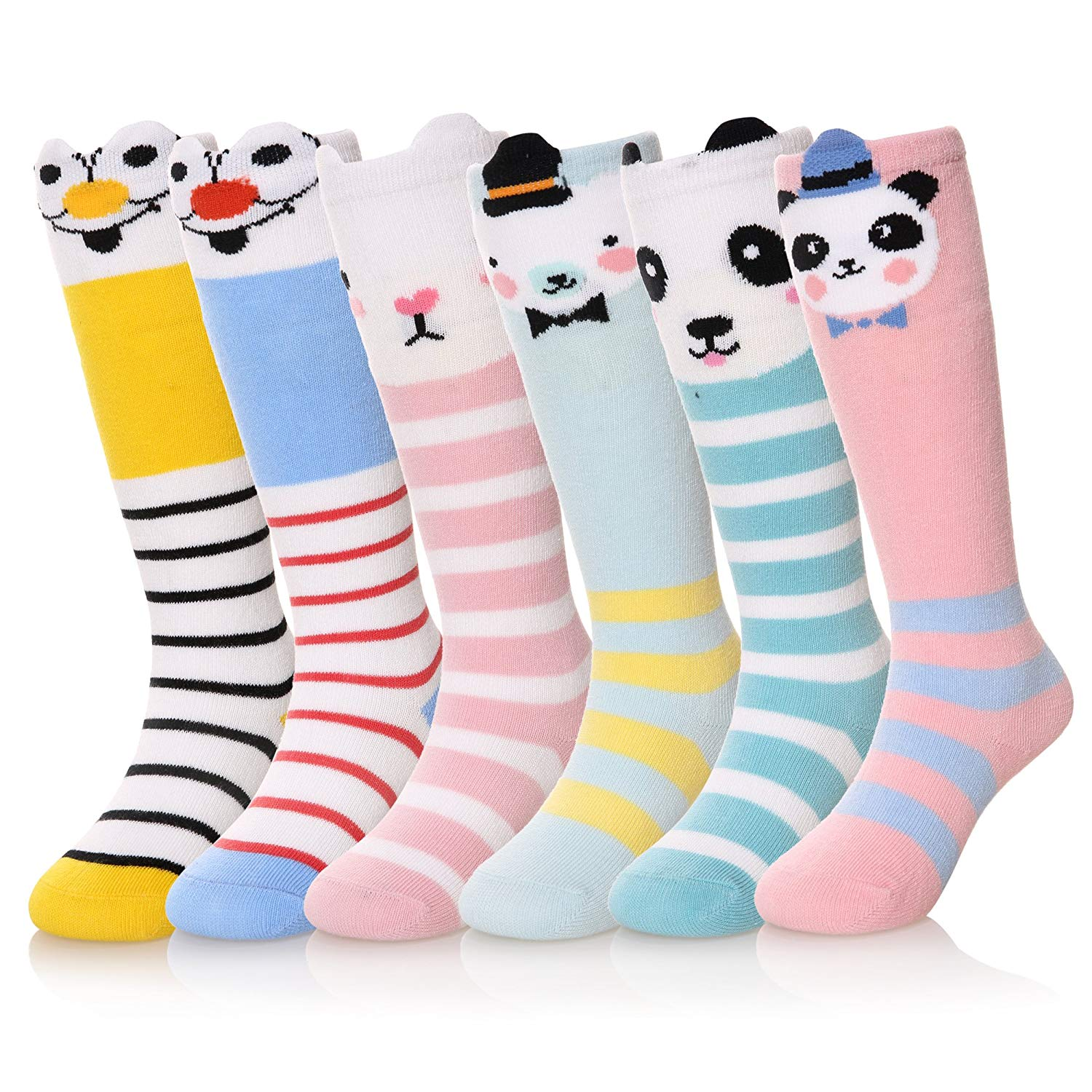 68c44cedbf4 Get Quotations · Unisex-Baby Knee High Socks Cute Animal Patterned  Stockings 6 Pairs