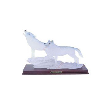 Resin Transparent White Full Moon Wild Animal Wolf Statue