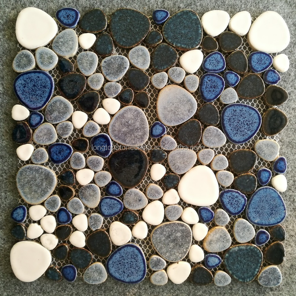 Difference Size Blue <strong>White</strong> Gray Colours Crystal Glaze Mosaic Porcelain <strong>Pebbles</strong> For Wall Floor Swimming Pool Bathroom