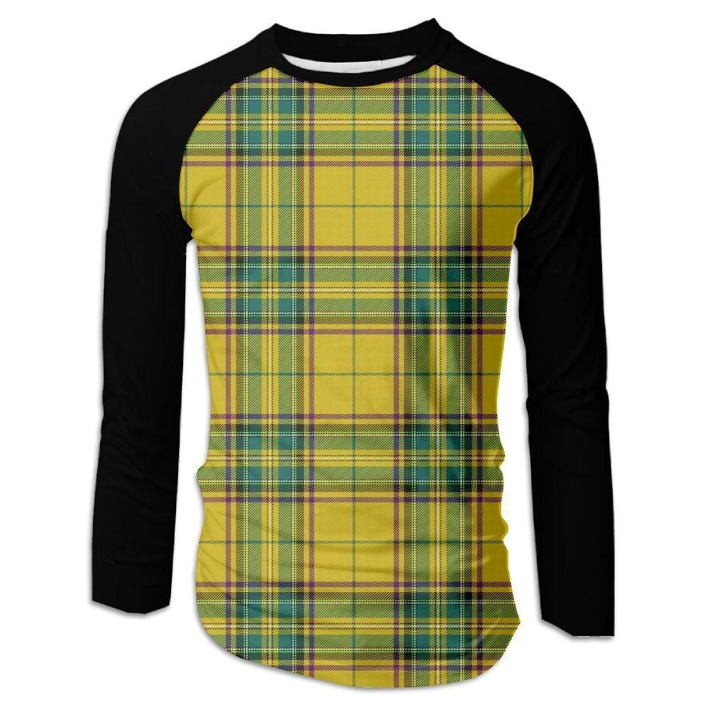56e06c48d7e83 Get Quotations · Scottish Style Plaid Men s Raglan Baseball T-Shirts Long  Sleeve Baseball Tees