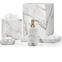 Ceramic Marble Hotel Bathroom Accessories Set With soap Dispenser