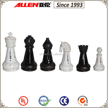 14 Black And White Chess Set Poly Resin Giant Pieces