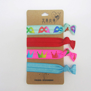 Bulk Cheap Custom Printed Different Style Ribbon Hair Ties