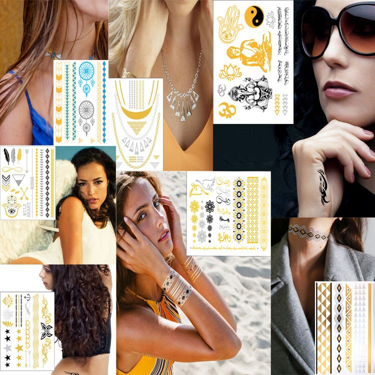 hot fake gold tattoos metallic temporary tattoos jewel flash tattoos gold tattoos/tatoos/body tattoos