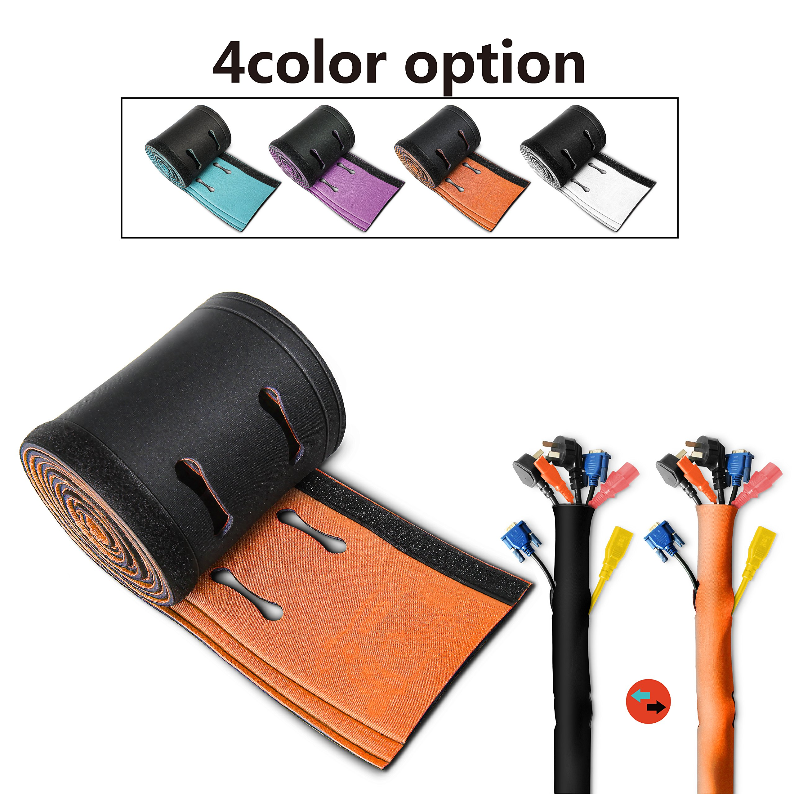 Computer Home and Office 102 Pieces Cable Wire Management Organizer Set Includes Adhesive Cable Clips Cable Ties Cable Cord Management Sleeve with Zipper Organizer Rope Holder for TV