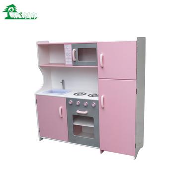 Baby Glücklich Mädchen Rosa Spielen Mini Holz Kinder Küche Set ...
