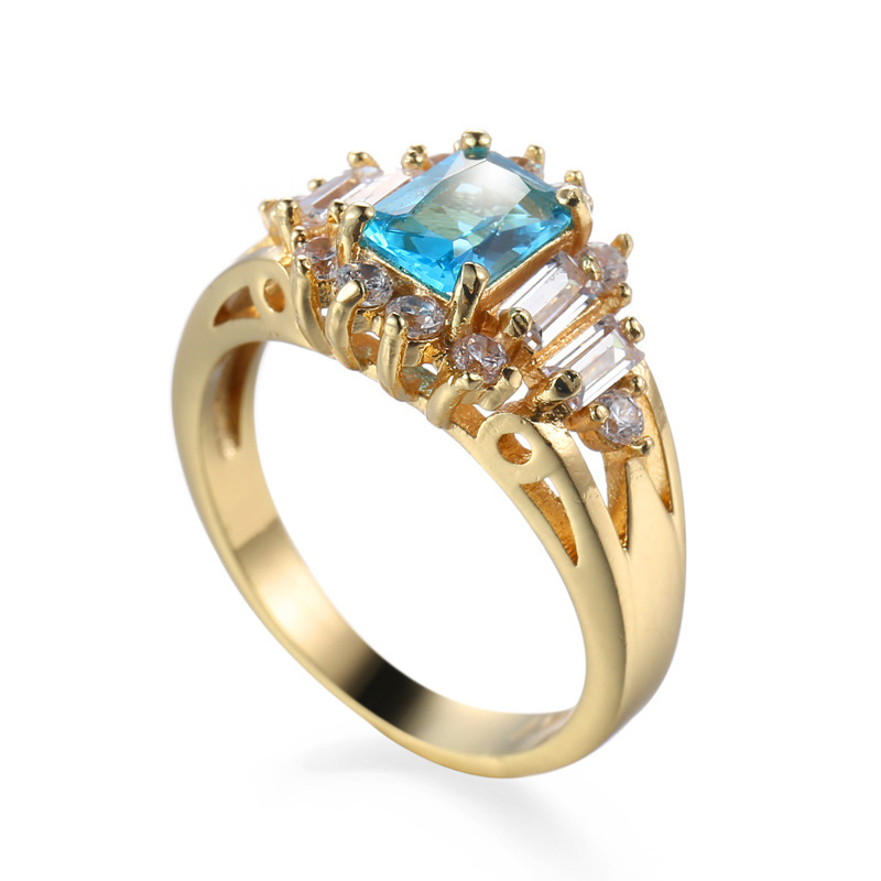 High Quality Wholesale Blue Diamond Rhinestone Ring Bridal Gold Plated Zircon Wedding Ring For Women