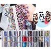 12pieces/box black flower Leopard Print Pattern Nail Sticker 3D Star Laser Glitter Nail Art foil