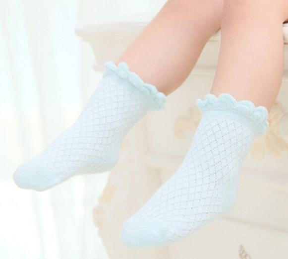 Cute Baby Toddler Kids Girls Boys Lace Mesh Thin Soft Cotton Ankle Socks