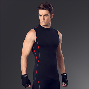Custom Fitness Cool Men Workout Gym Clothes Tight Compression Top With  Sleeveless 6ecf7c58d