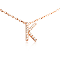Newest hot sale white fine cubic zirconia pave setting letter initial K pendant necklace