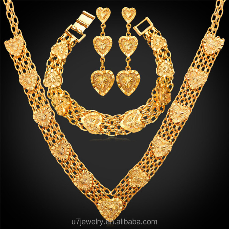 Wedding Accessories Gold Plated Trendy Vintage Heart indian Bridal Jewelry Sets women turkish gold jewellery