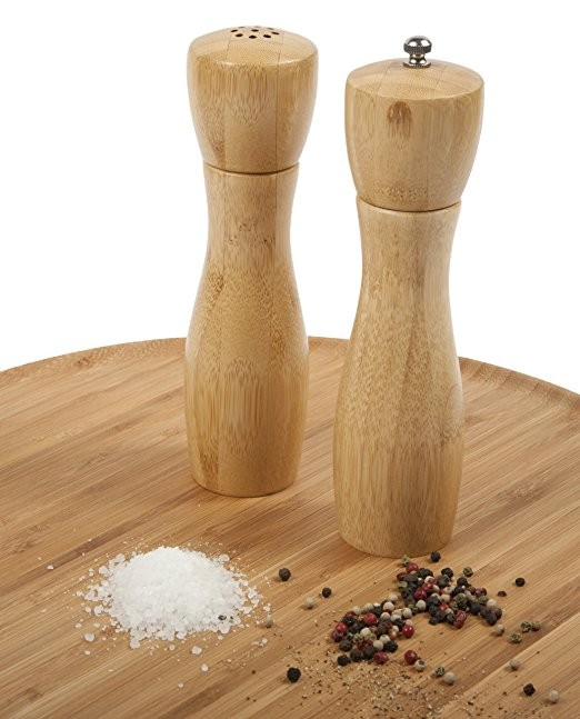 Wood pepper mill and salt shaker set