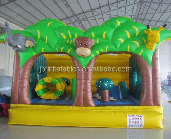 kids mini 2017 inflatable fun city for amusement park, inflatable funland with jungle theme for sale