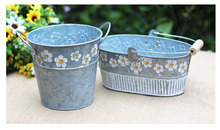 Decorative Garden Painted antique Flower Metal Tin Pot Bucket