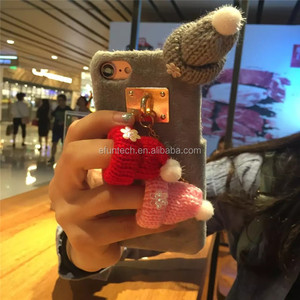 Beautiful lovely winter knitted hats plush cell phone case for iphone 7 7plus case