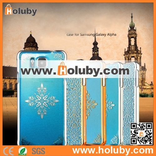Factory Wholesale! BASEUS Royal PC Hard Case for Samsung Galaxy Alpha G850F(Gold Snow Pattern)