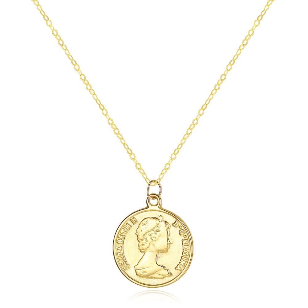 Custom design 14K Gold Elizabeth Round Coin Pendant Necklace for Women Charm Long Chain Necklace 14K Yellow Gold Jewel фото