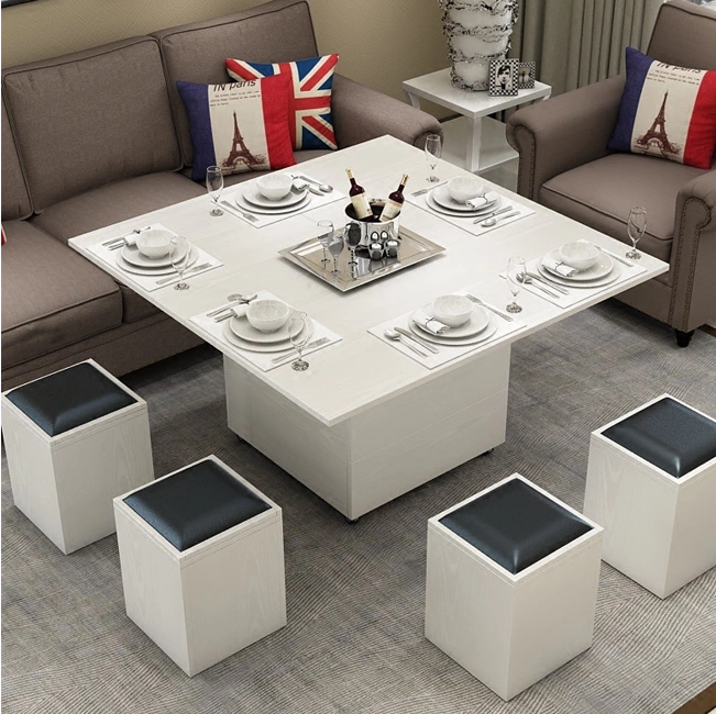 Multifunctional folding lift coffee table to dining table
