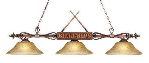 ELK Lighting Designer Classics 3-Light Billiard/Island Light in Wood Finish with Amber Gratina Glass Shades